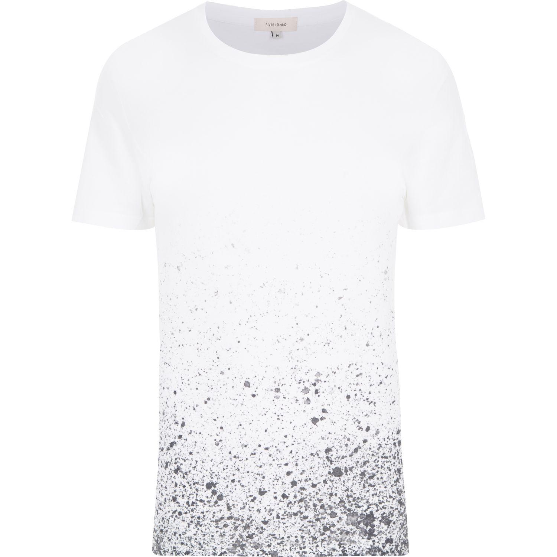 Mens Black Splattered Paint T Shirt