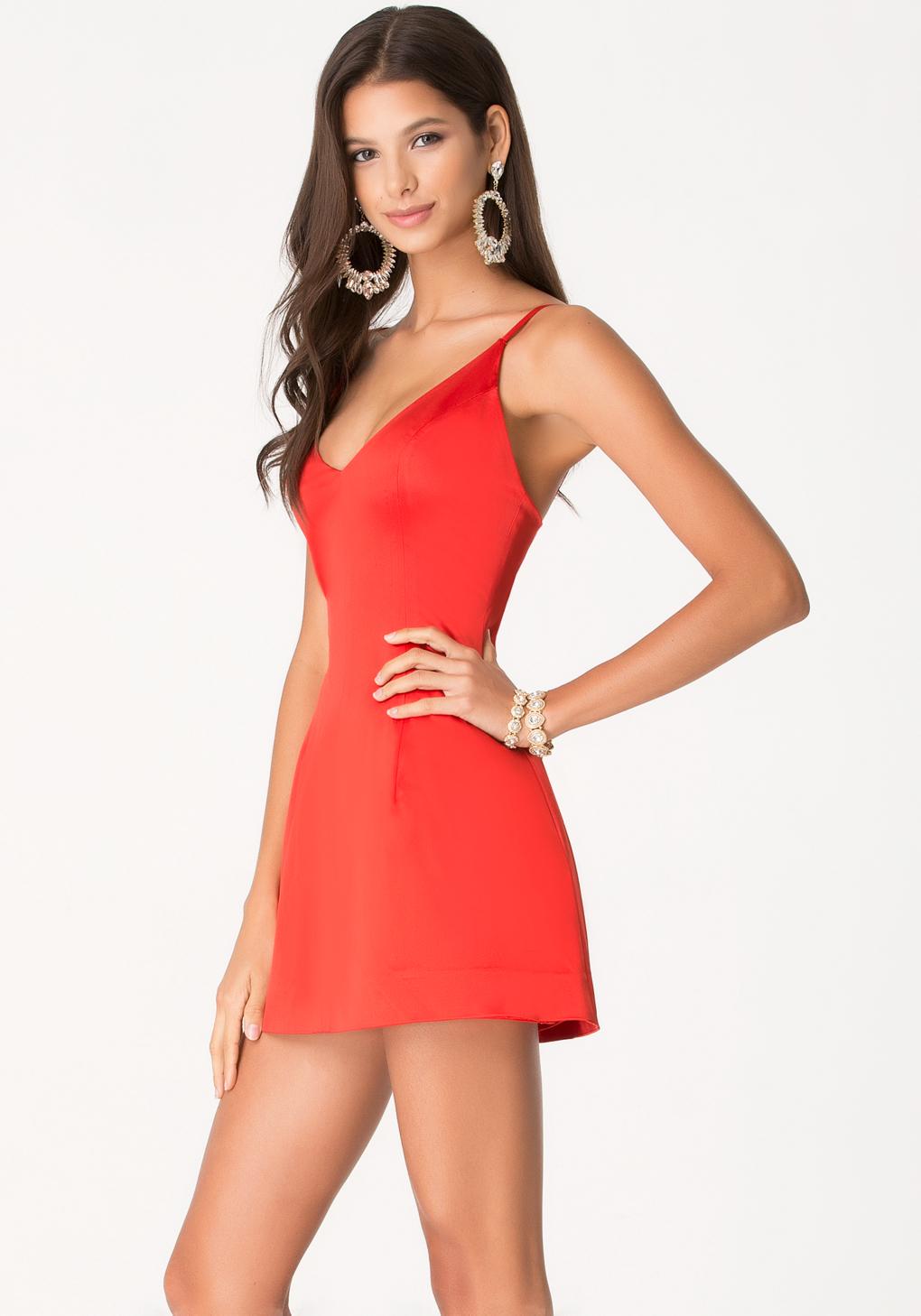 Red V-Neck Dress
