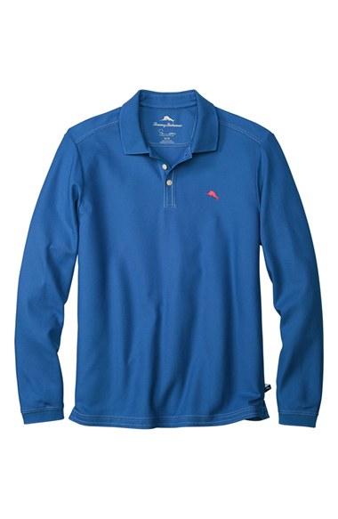 Tommy bahama 39 emfielder 39 long sleeve polo in blue for men for Tommy bahama long sleeve dress shirts