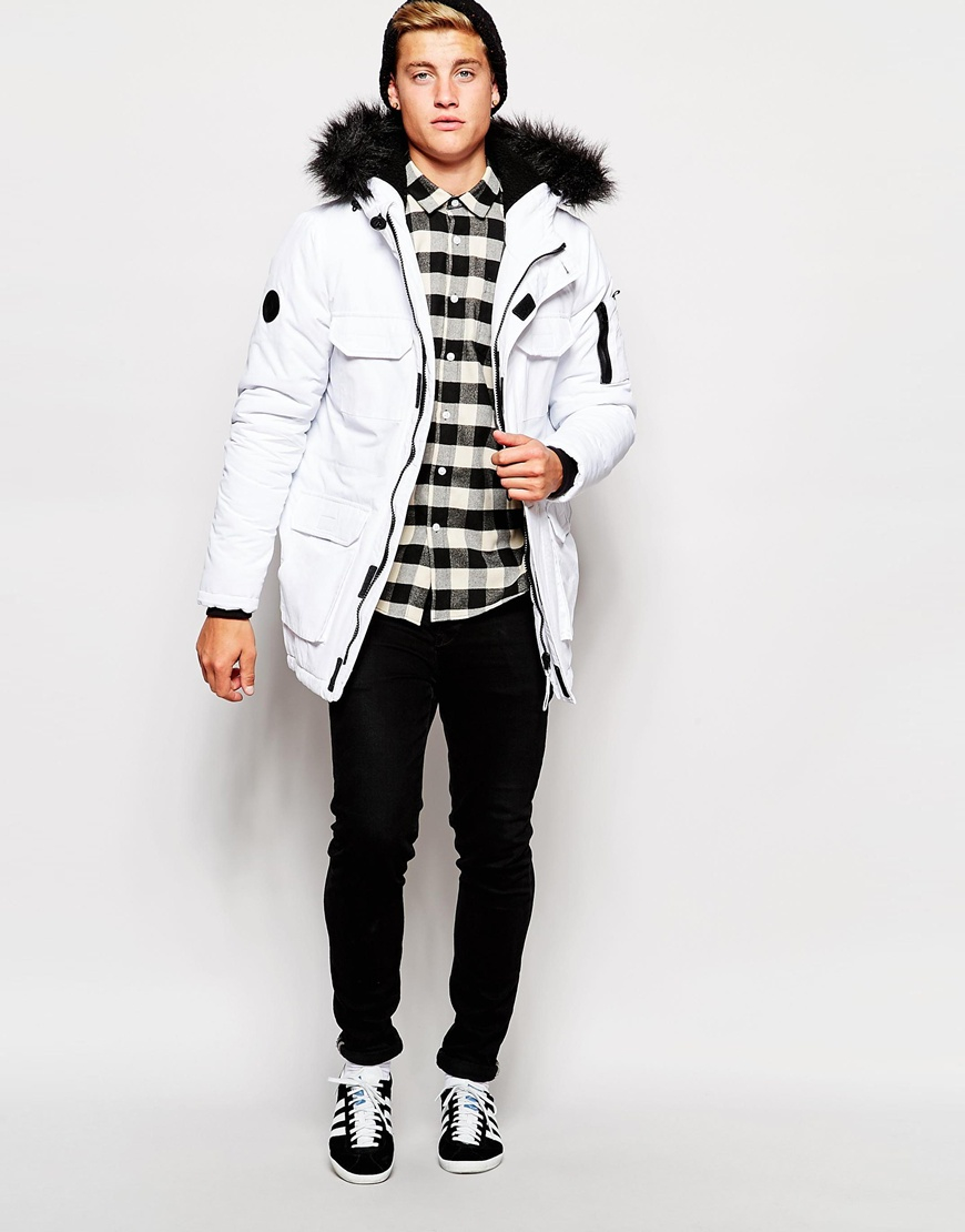 Lyst Bellfield Exclusive Parka With Faux Fur Hood In