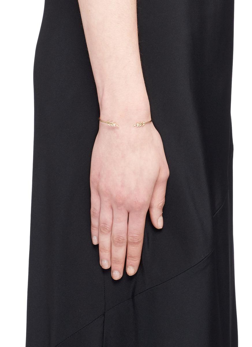 Mizuki 'sea Of Beauty' Diamond 14k Gold Wire Petal Cuff in Metallic