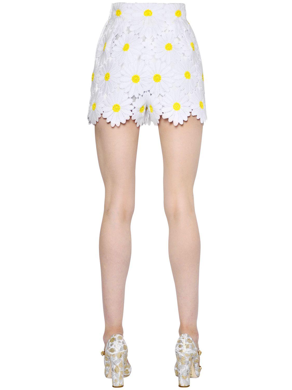Dolce Amp Gabbana Daisy Cotton Macram 233 Shorts In White Lyst