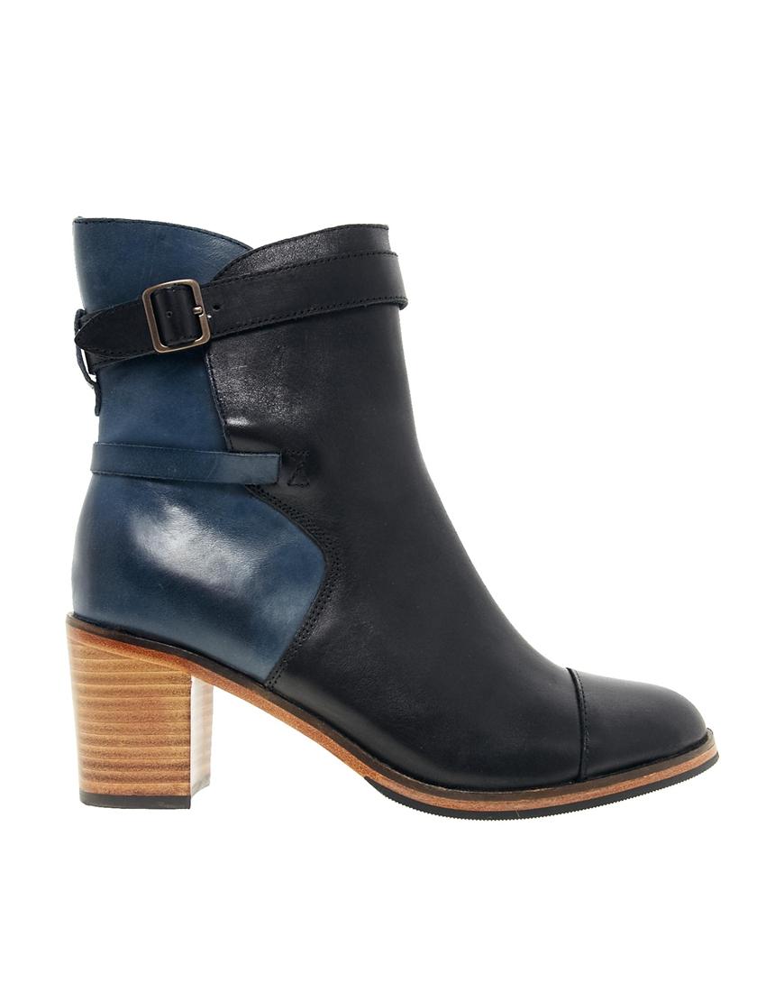 wolverine bonny blue black heel boots in blue lyst