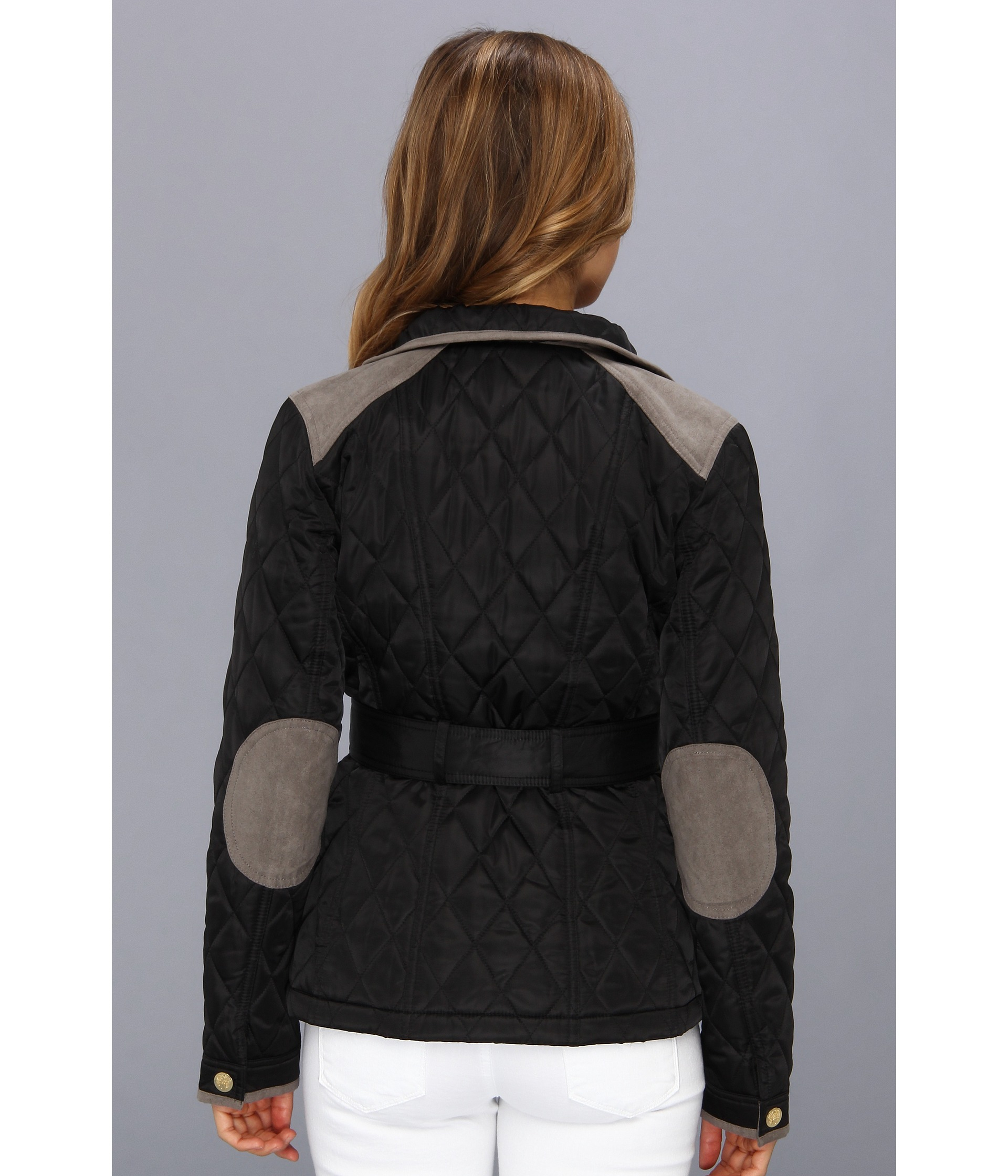 Vince Camuto Quilted Zip Front Belted Jacket In Black Lyst