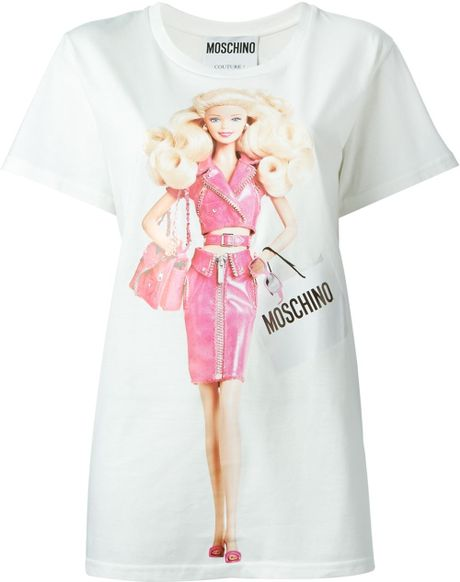 moschino barbie print t shirt in white lyst. Black Bedroom Furniture Sets. Home Design Ideas