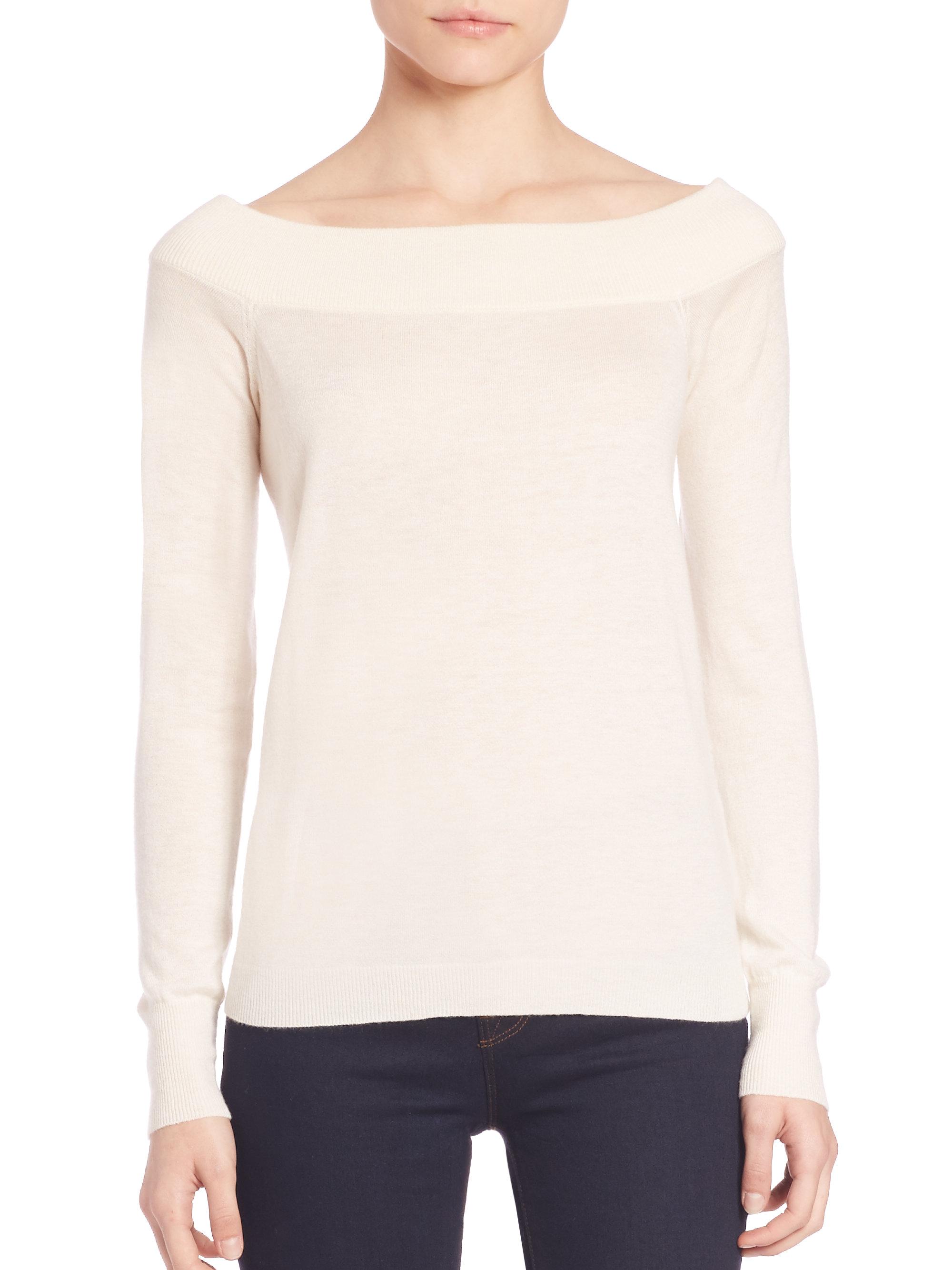 rebecca taylor off shoulder pullover in white lyst. Black Bedroom Furniture Sets. Home Design Ideas
