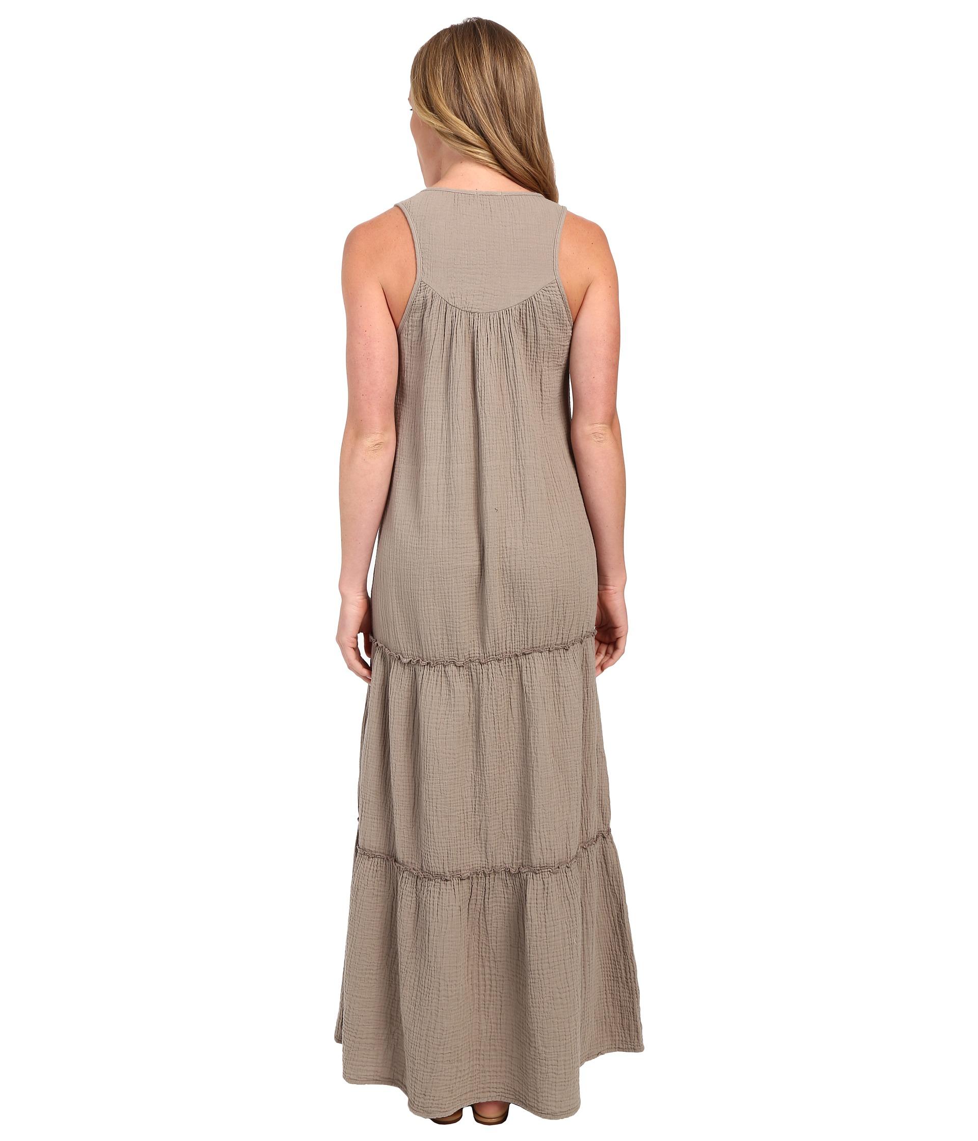 5ffe14db01b Lyst - Dylan By True Grit Soft Gauzy Cotton Tiered Tank Maxi Dress ...