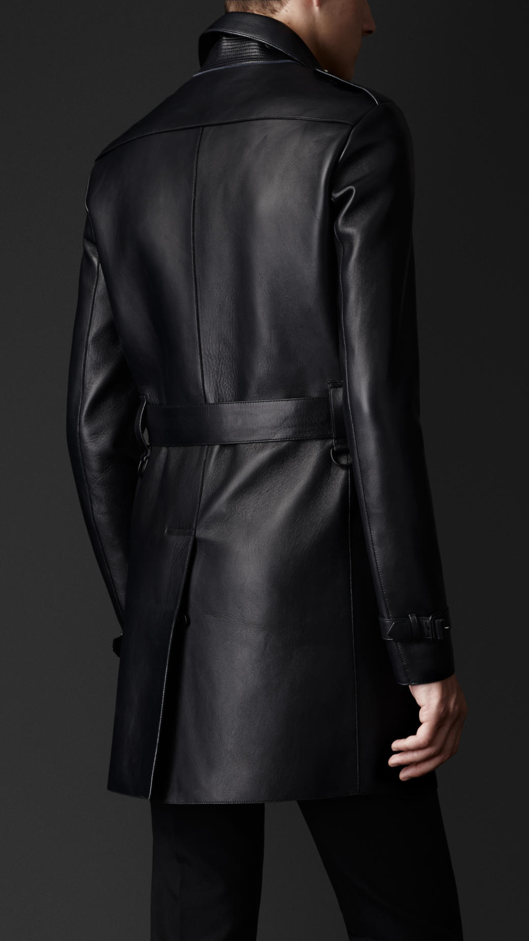 good service latest collection on sale online Burberry Black Bonded Nappa Leather Trench Coat for men