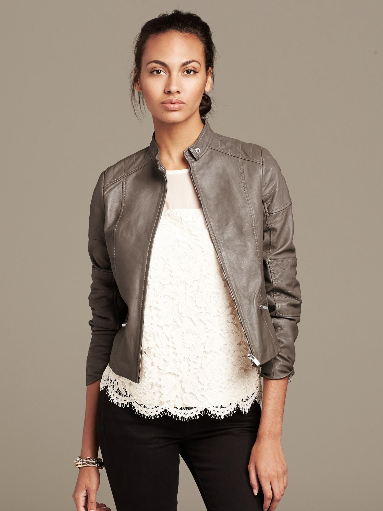 Banana republic leather jacket women