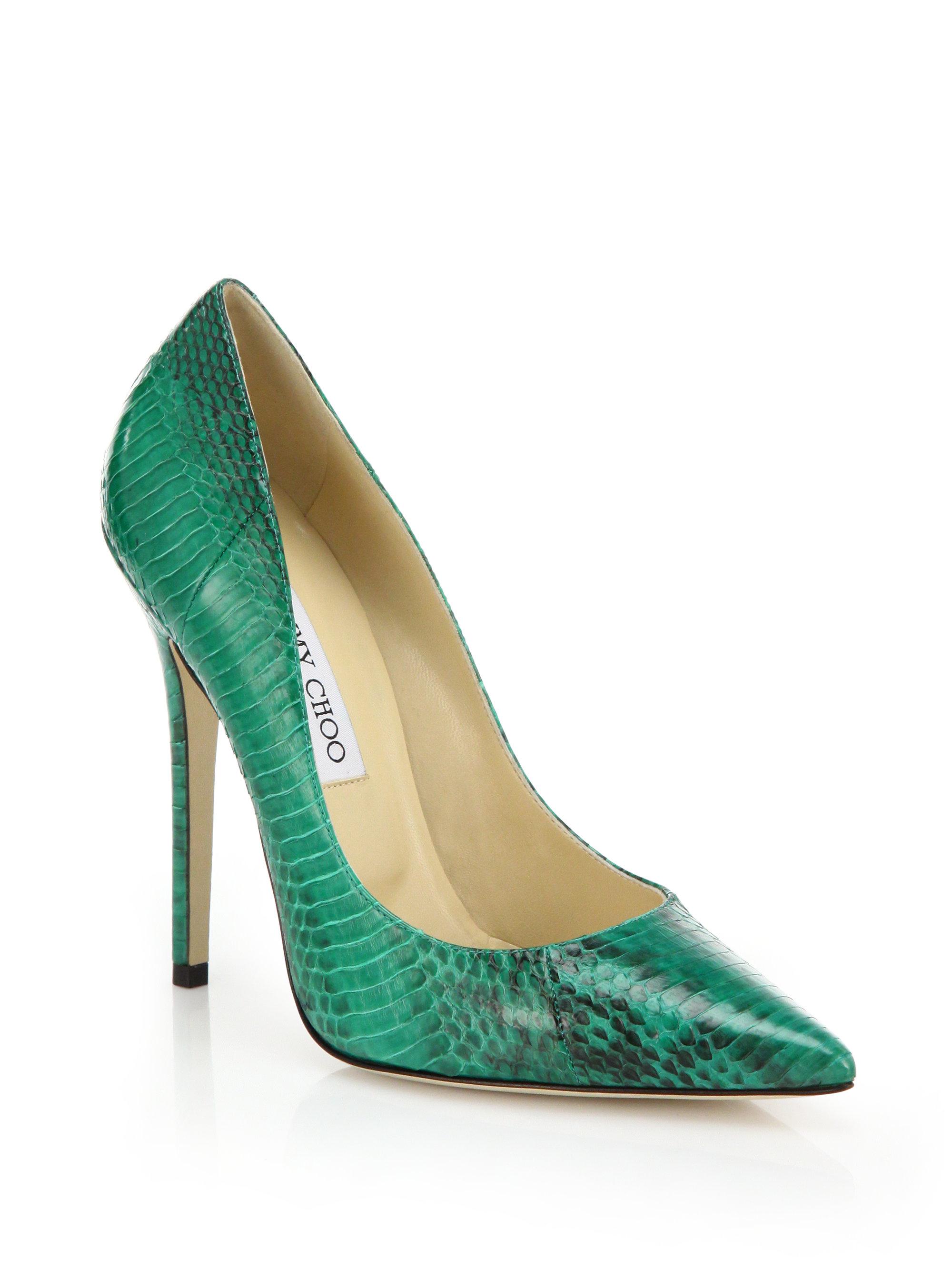 Jimmy Choo Anouk Snakeskin Pointed Toe Pumps In Green Lyst