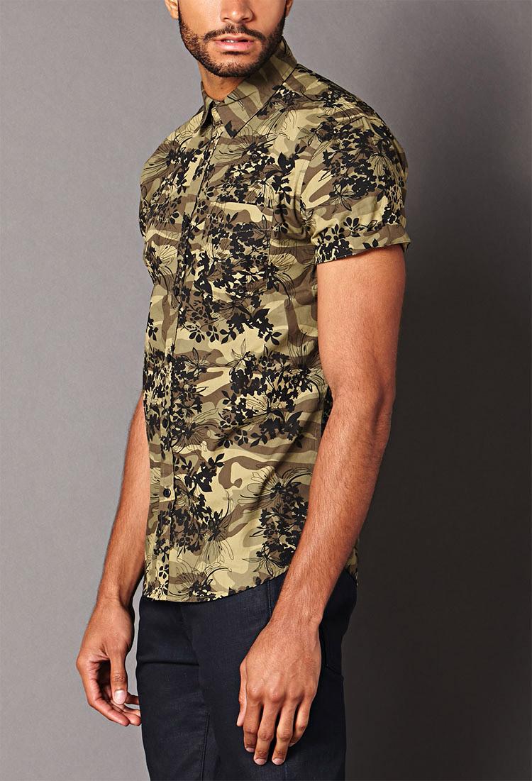 b2f427e9f3c Forever 21 Green Floral Camo Shirt for men