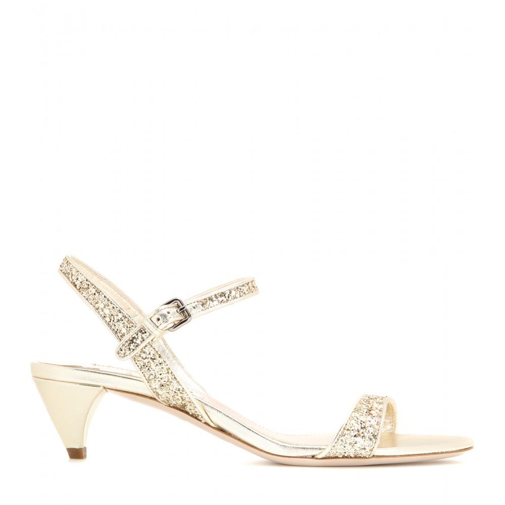 7c2dfd592c Miu Miu Glitter Embellished Kitten-heel Sandals in Metallic - Lyst