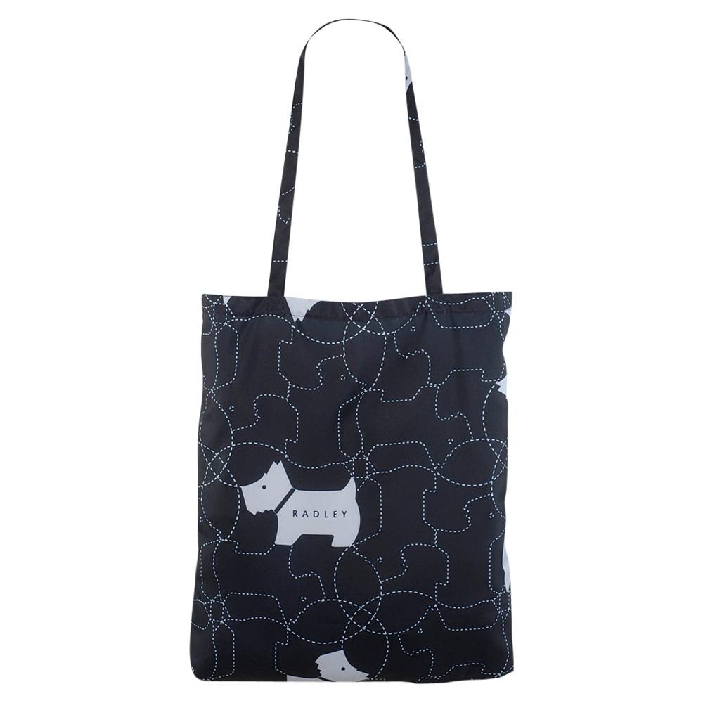 Radley In Stitches Foldaway Tote Bag in Black