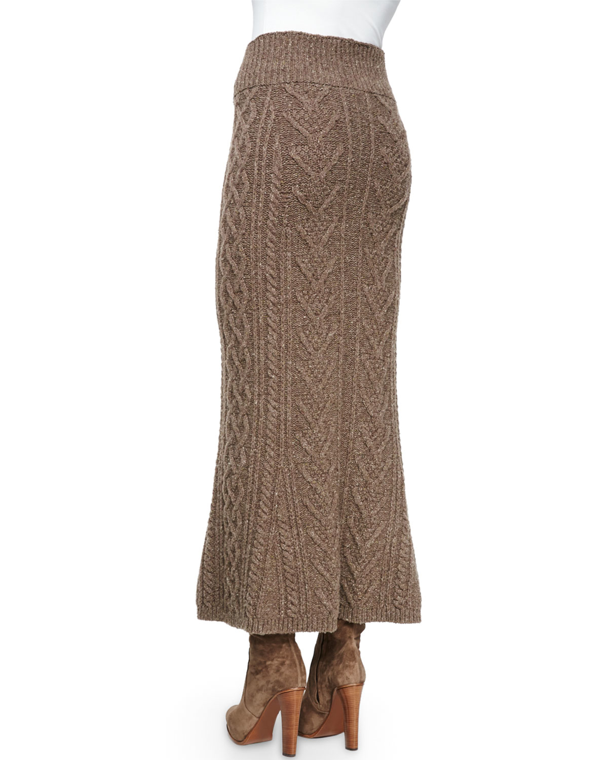 5b73217f6b8fd3 Ralph Lauren Collection Long Cable-Knit Cashmere Skirt in Brown - Lyst