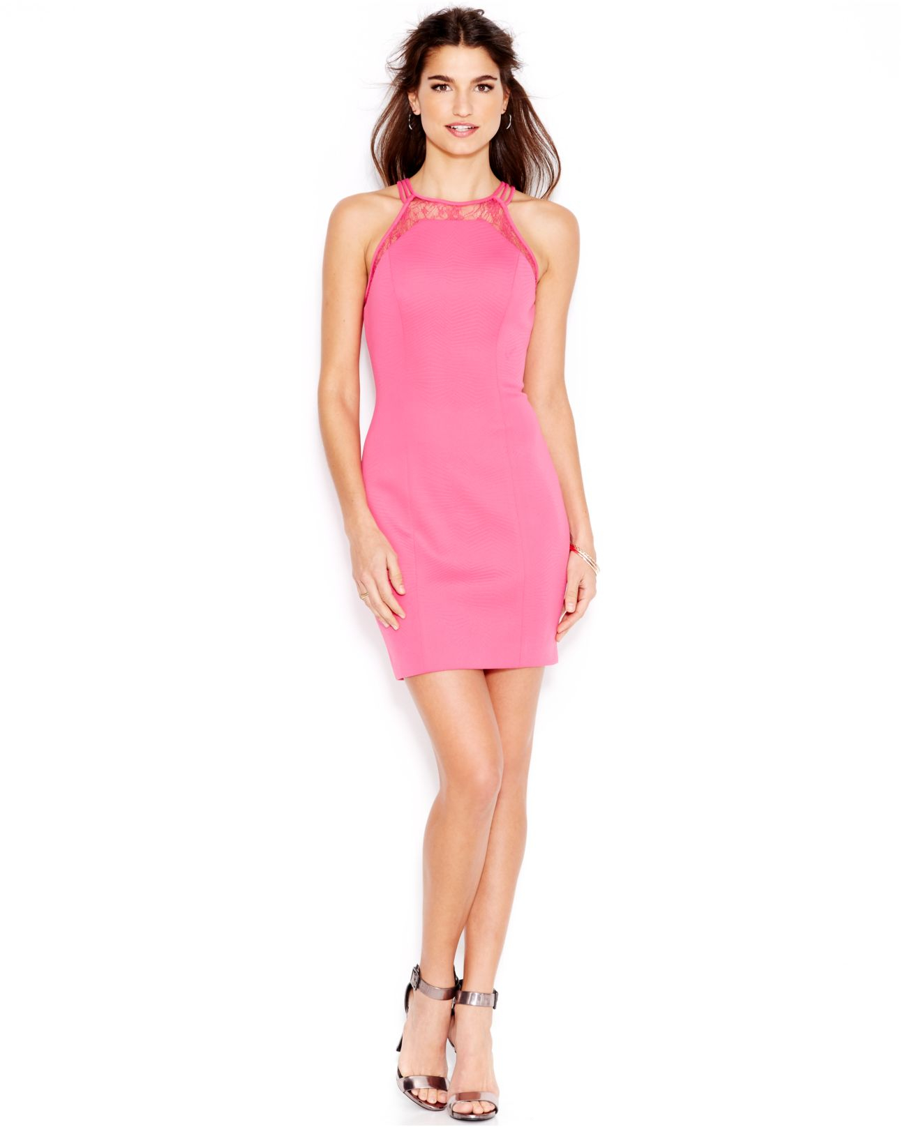Guess Illusion Lace Scuba Body Con Dress In Pink Lyst