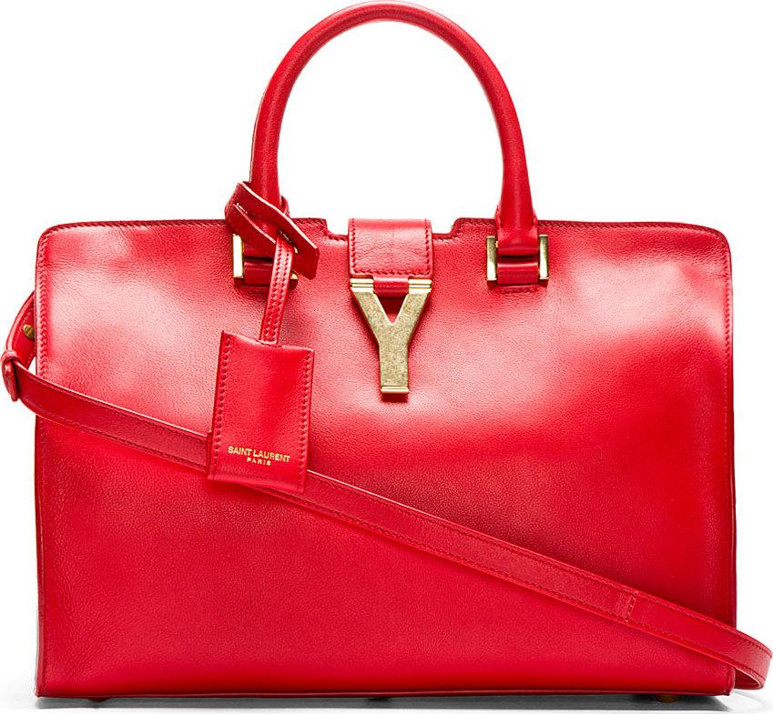 yvessaintlaurent bag - y ligne soft leather bag, red