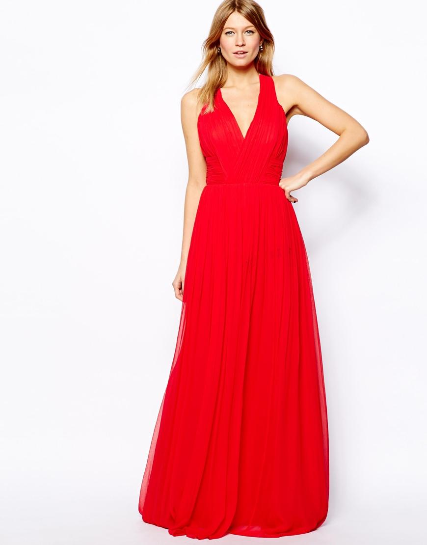 Mango Cross Back Maxi Dress in Red