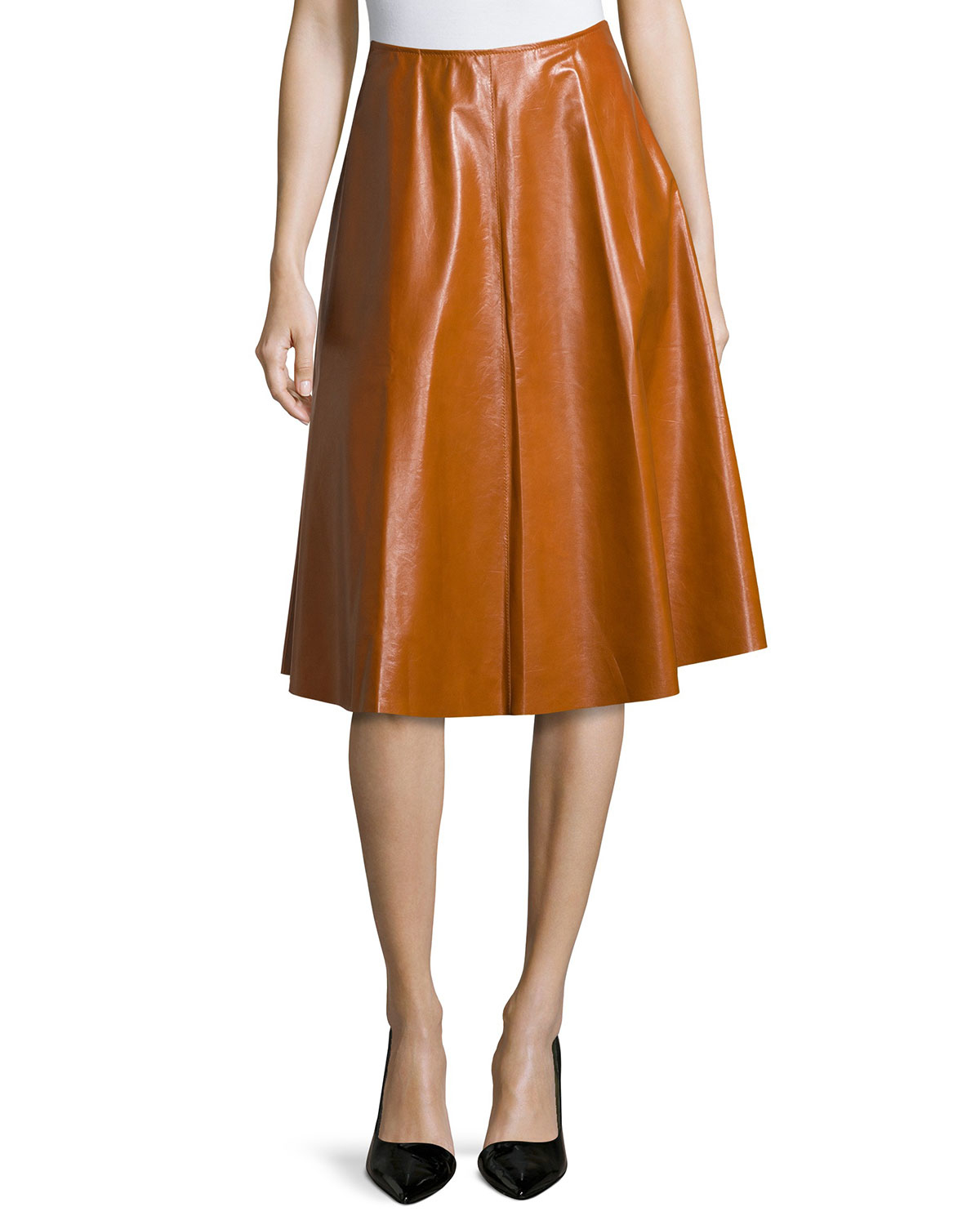 lafayette 148 new york leather a line midi skirt in brown