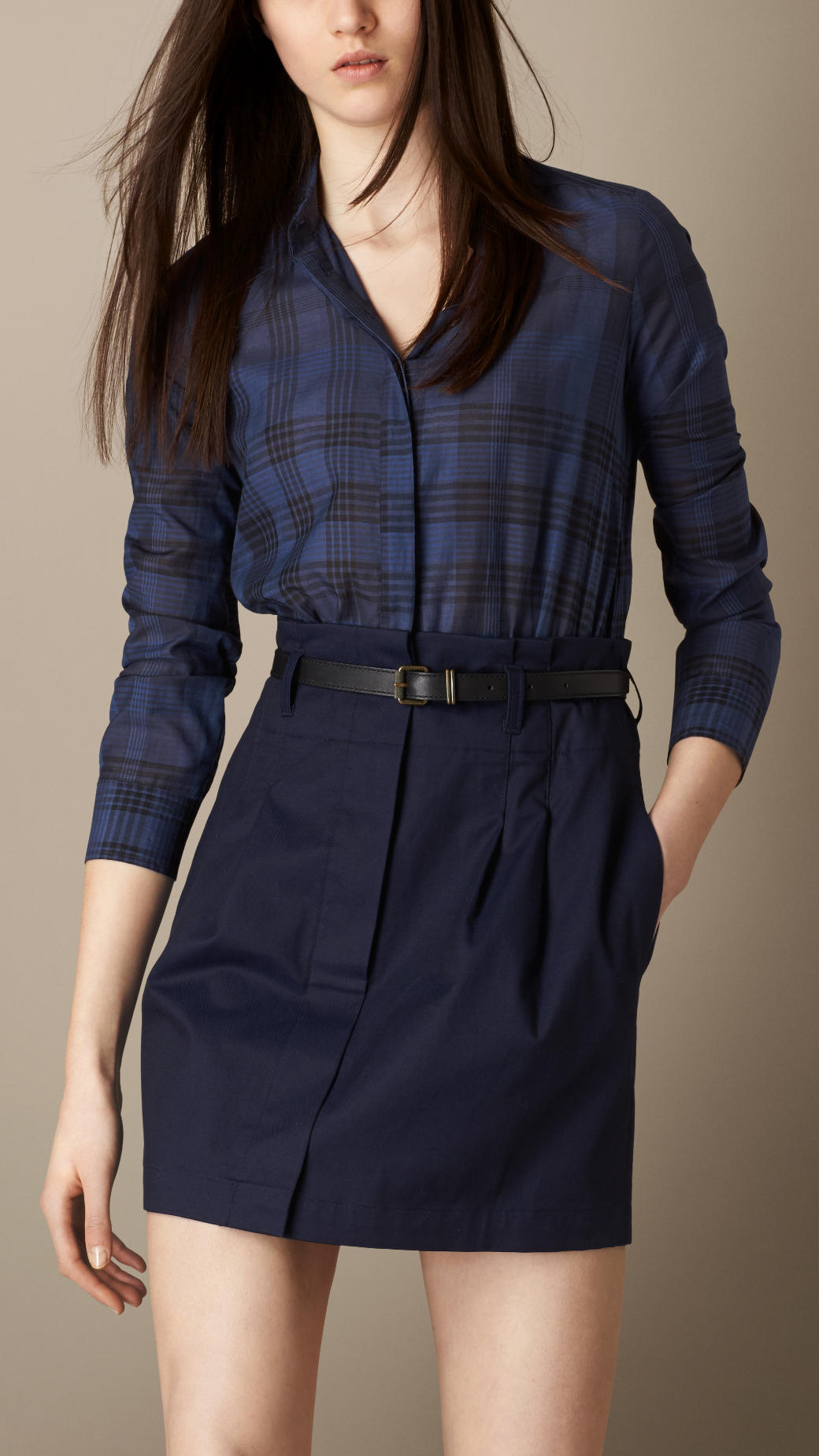 New burberry blue check cotton silk shirt dress for Blue check dress shirt