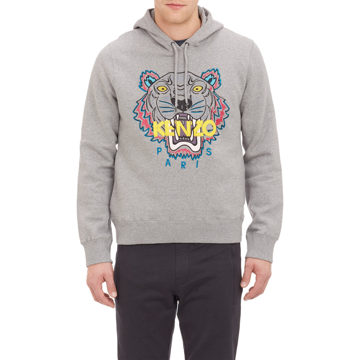 0b977e0521 KENZO Embroidered Tiger Hoodie in Gray for Men - Lyst