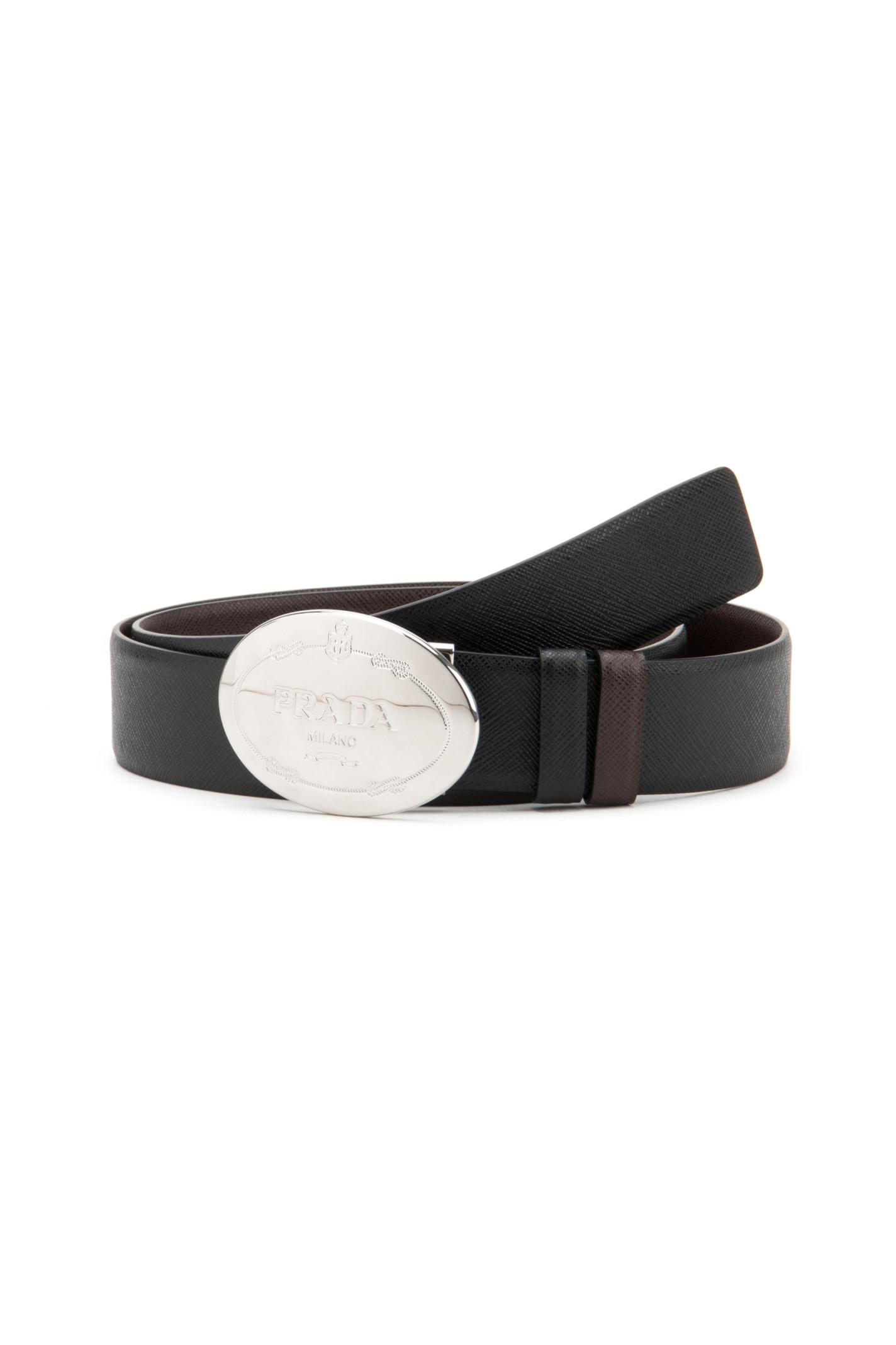 Prada Saffiano Belt In Black For Men (NERO+CAFFÉ)