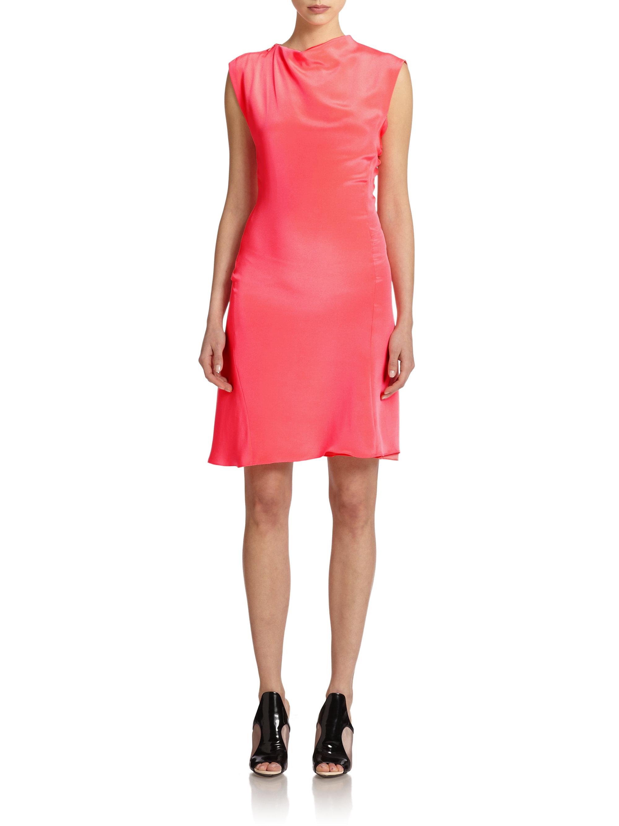 1d20b2b5741 3.1 Phillip Lim Silk Draped Asymmetrical Dress in Pink - Lyst