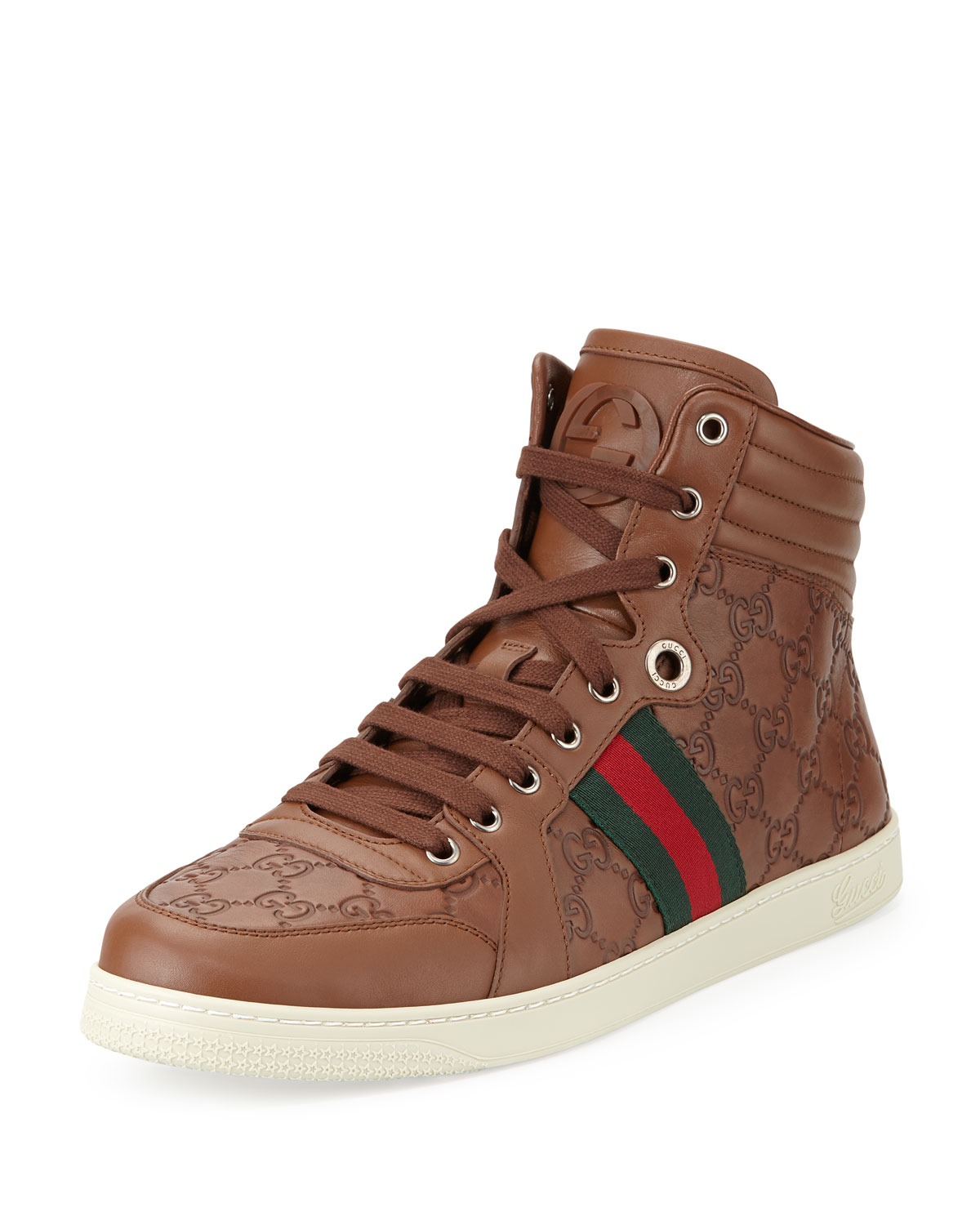 gucci leather high top sneakers in brown for men lyst. Black Bedroom Furniture Sets. Home Design Ideas