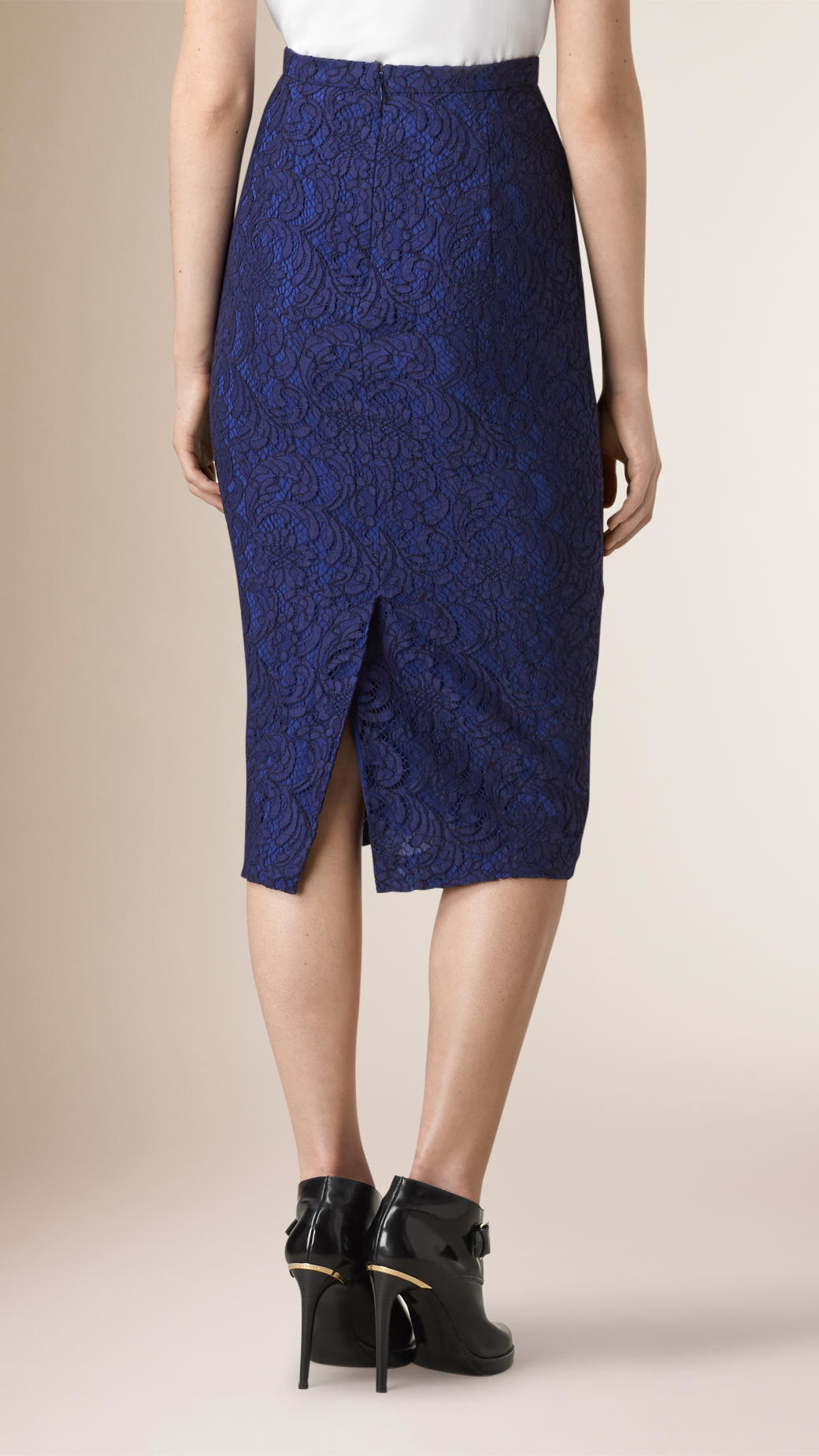 burberry floral lace pencil skirt in blue lyst