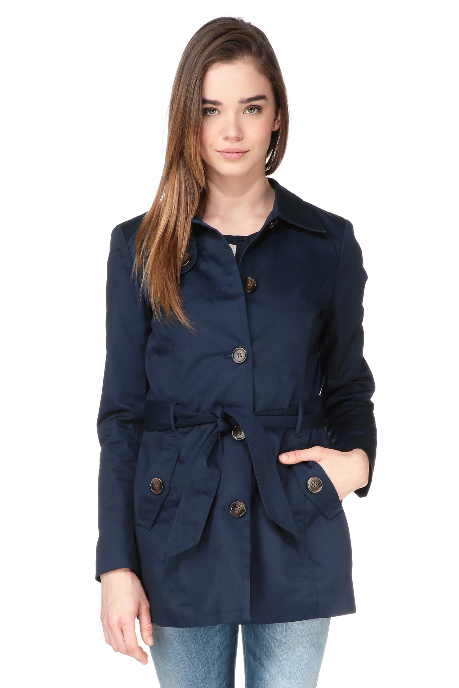 vero moda trench parka in blue lyst. Black Bedroom Furniture Sets. Home Design Ideas
