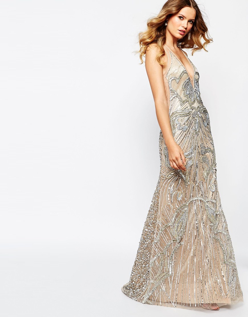 86e5d86498 A Star Is Born - Gray Luxe Embellished Maxi Dress With Red Carpet Train -  Lyst