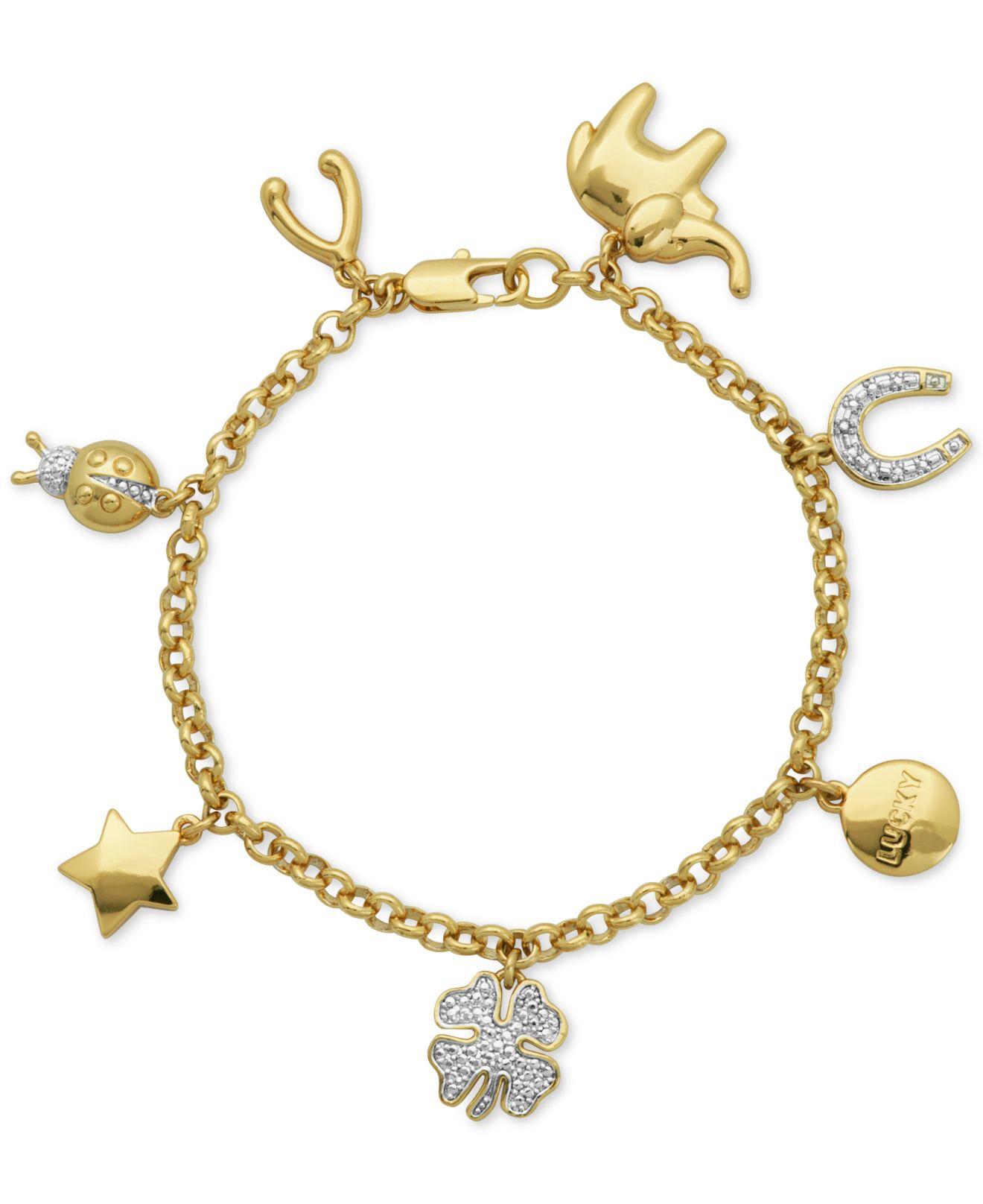 Macy s Diamond Accent Inspirational Charm Bracelet In 18k Gold