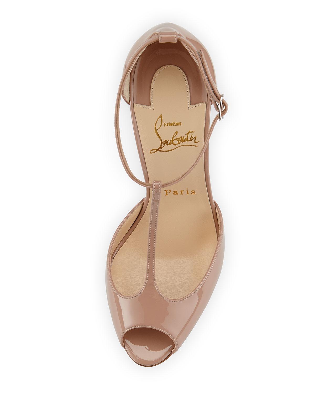 Christian louboutin Senora Patent T-strap Red Sole Sandal in Beige ...
