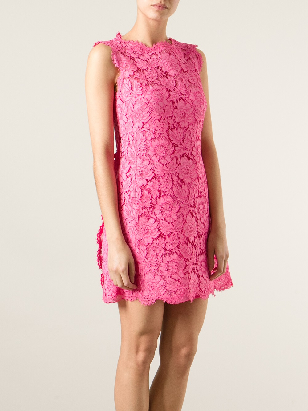 Valentino Floral Lace Fitted Dress in Pink - Lyst