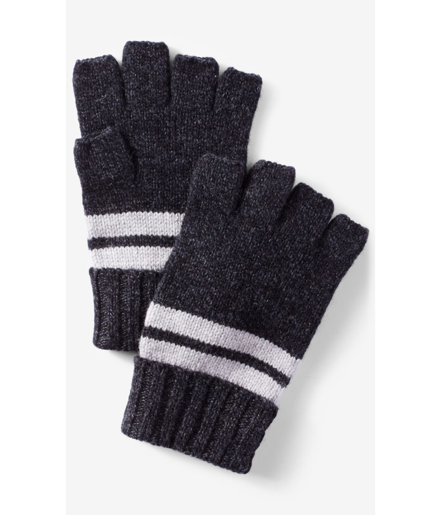 Mens gloves with mitten flap -  Express Striped Convertible Cuff Fingerless Gloves In Gray For Men