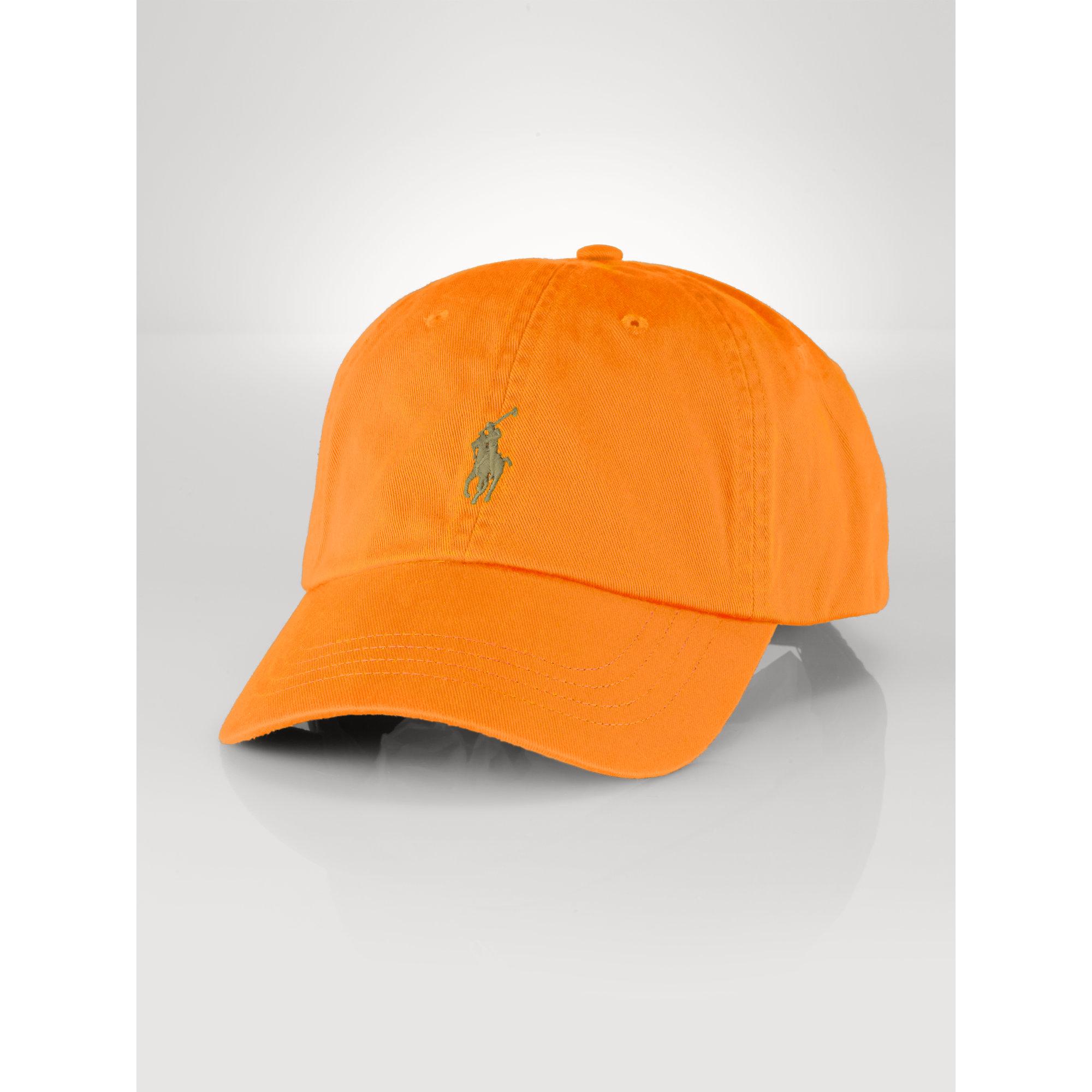 polo ralph cotton baseball cap in orange for lyst