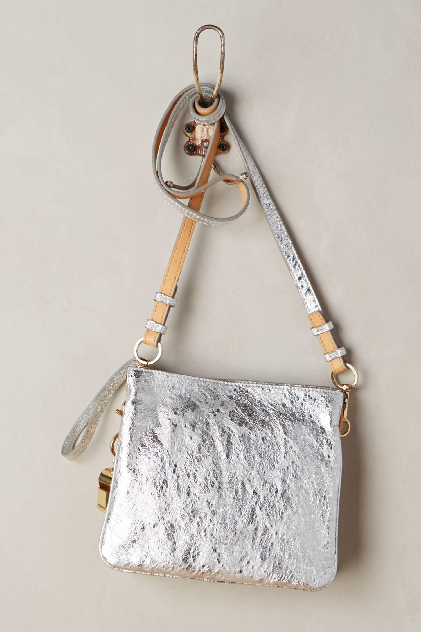 Cynthia Rowley Metallic Nixie Crossbody Bag In Silver Lyst