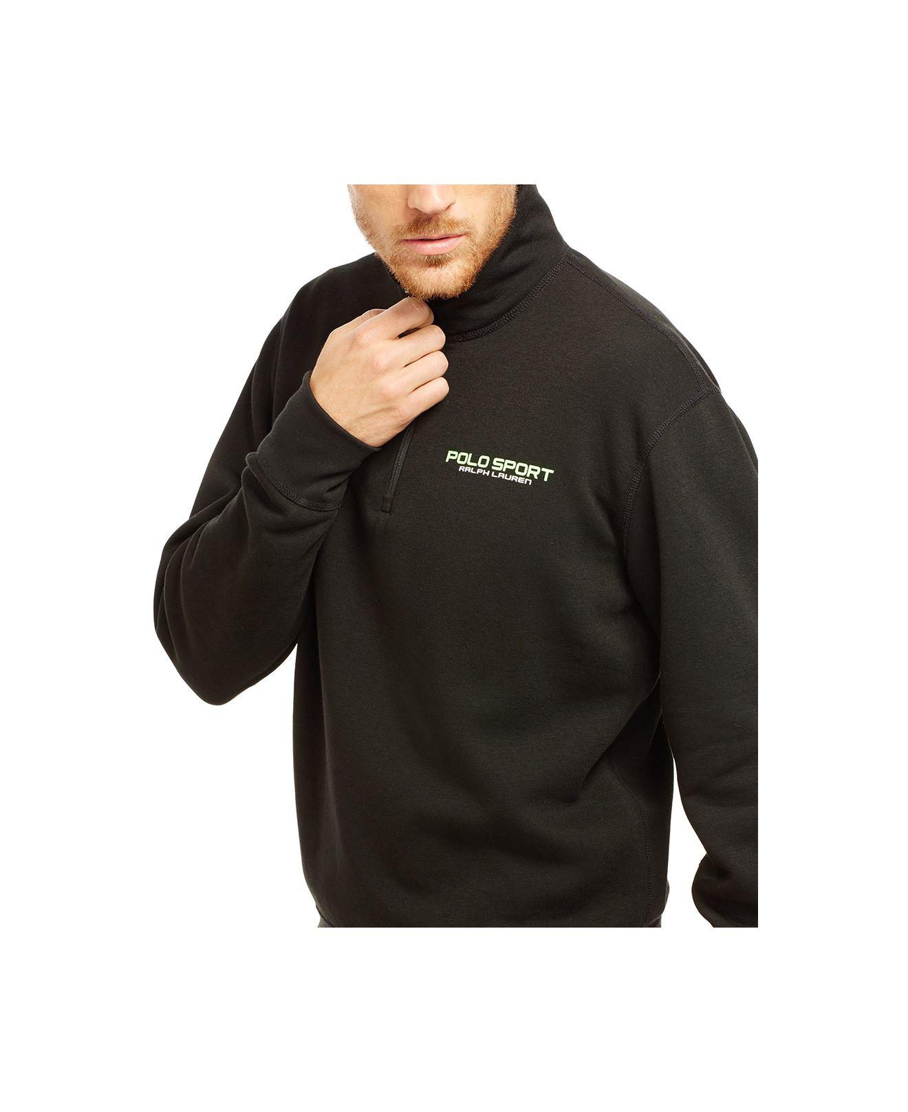 polo ralph lauren polo sport fleece half zip pullover in black for men polo black lyst. Black Bedroom Furniture Sets. Home Design Ideas