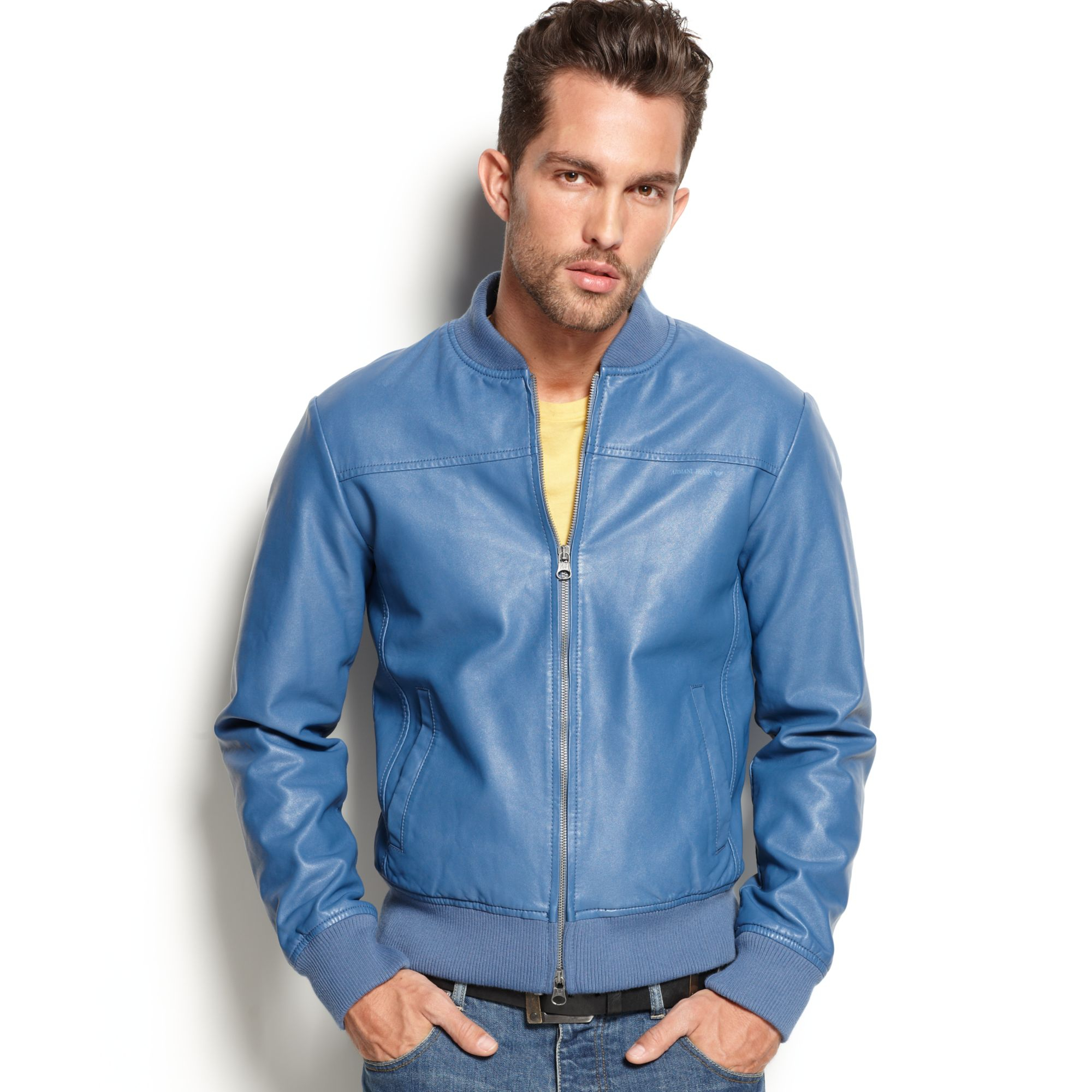 armani jeans eco fauxleather jacket in blue for men lyst. Black Bedroom Furniture Sets. Home Design Ideas