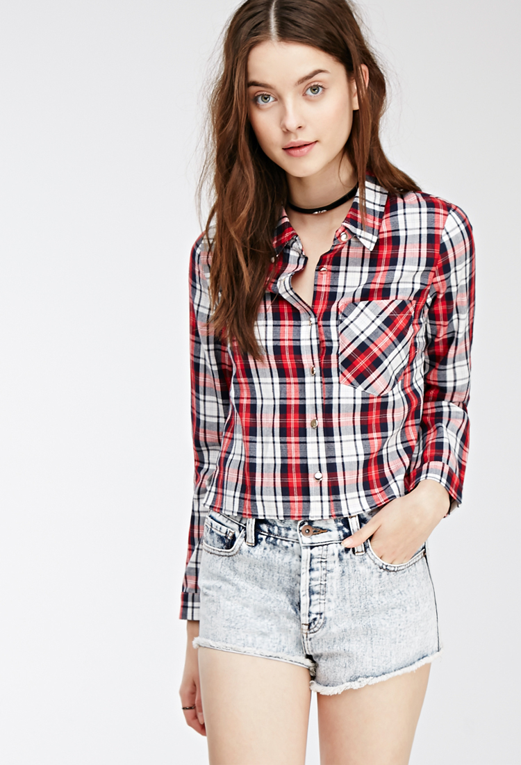 Forever 21 Cropped Western-inspired Plaid Shirt in Red