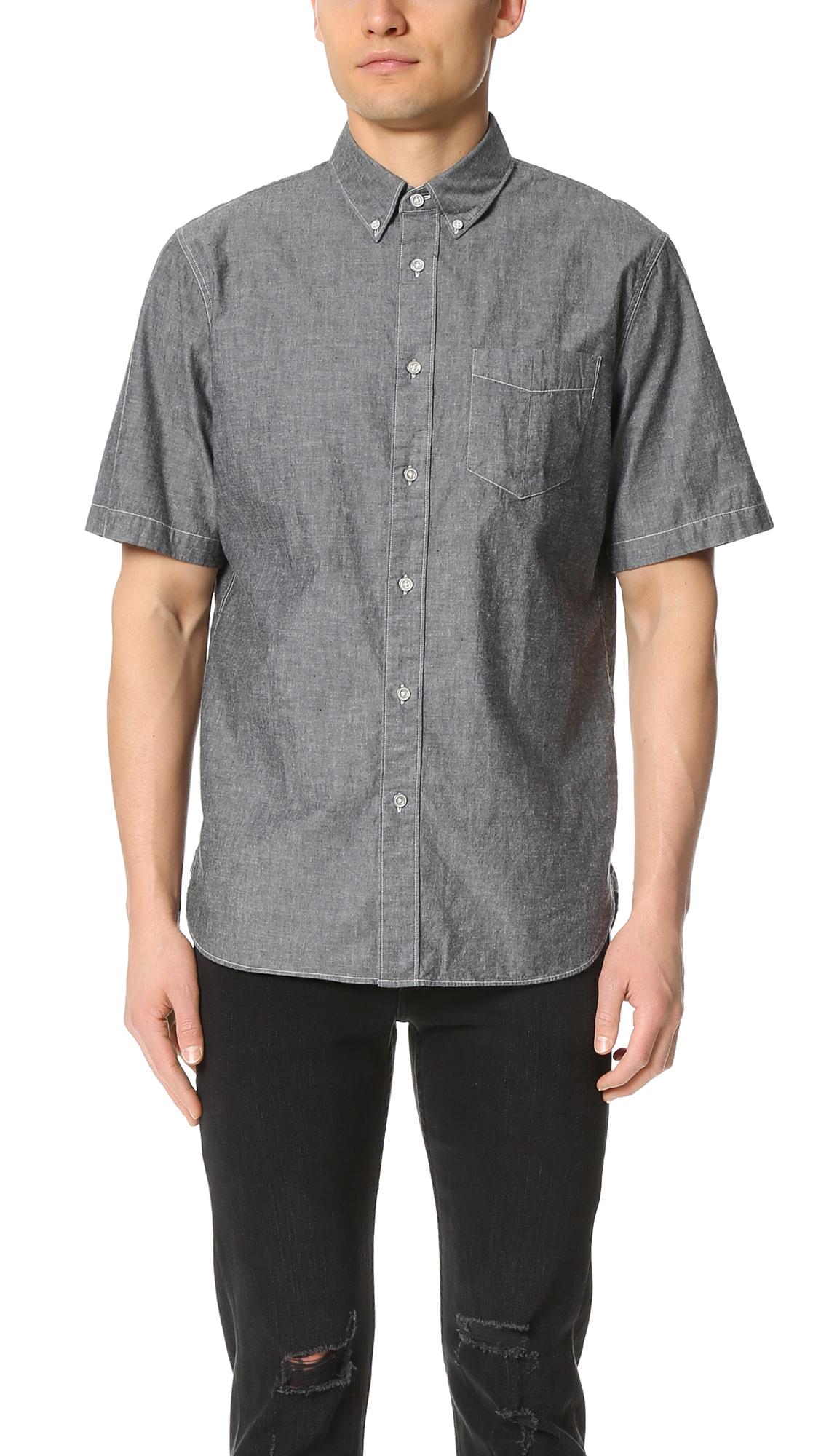 Rag Bone Short Sleeve Standard Issue Chambray Shirt In