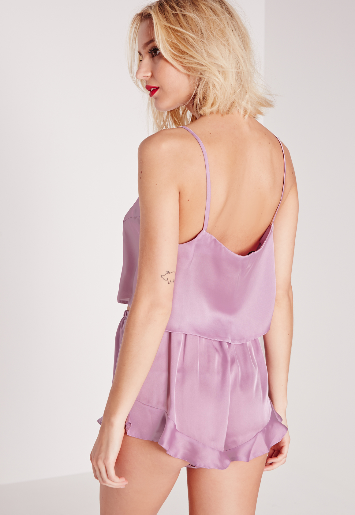 Lyst - Missguided Satin Cropped Pyjama Set Lilac in Purple a45d30854
