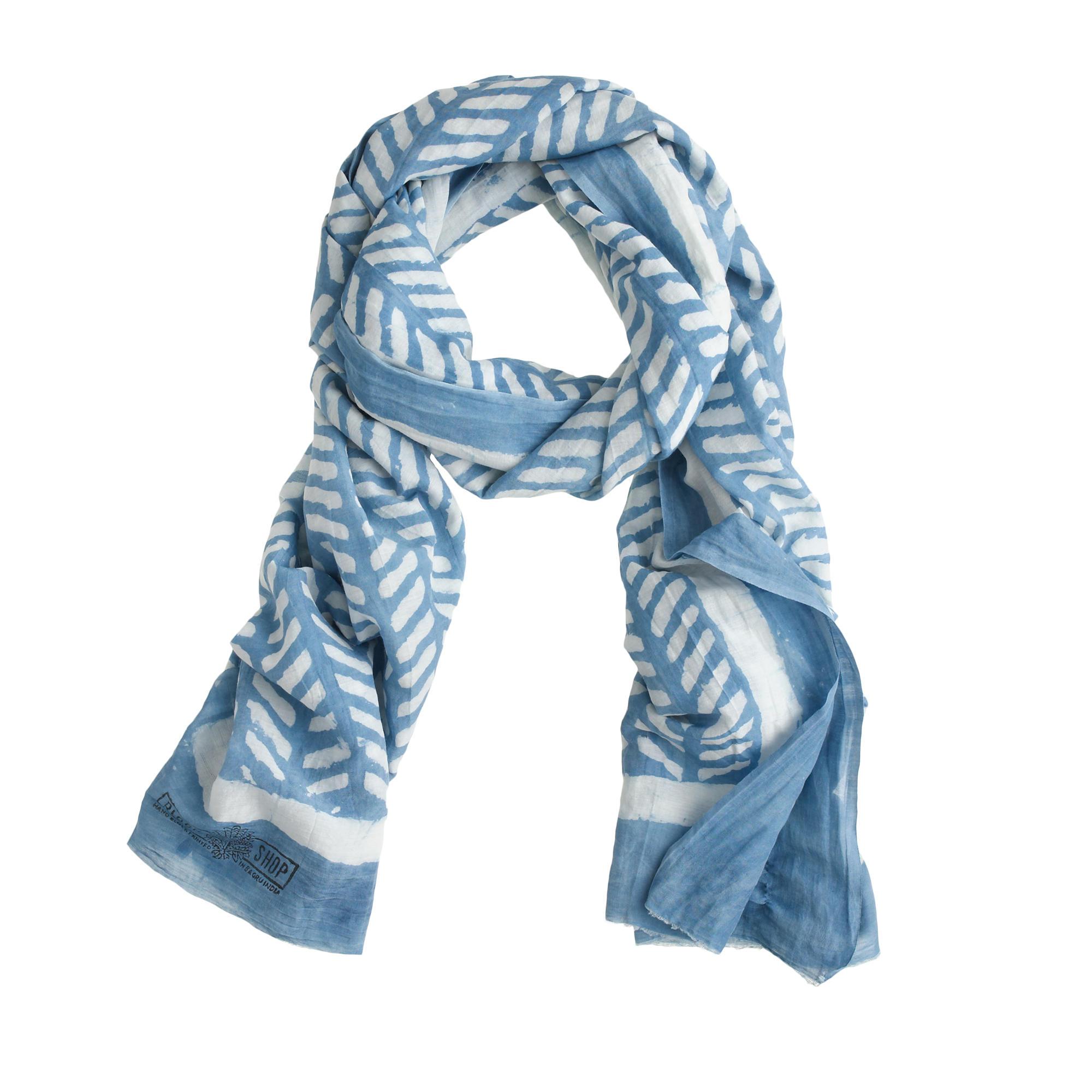 j crew block shop printed scarf in blue lyst