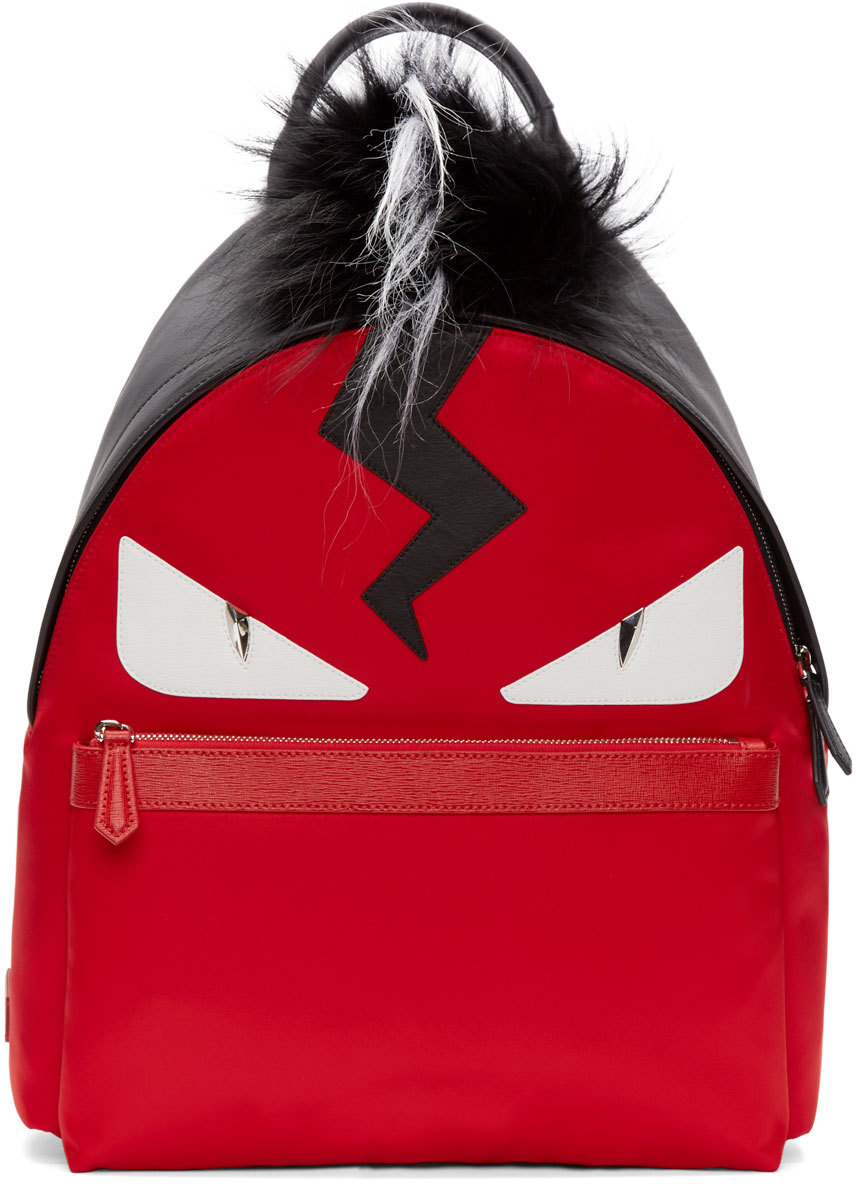 94b31eb3461 Fendi Red And Black Fur-trimmed Monster Backpack in Red - Lyst