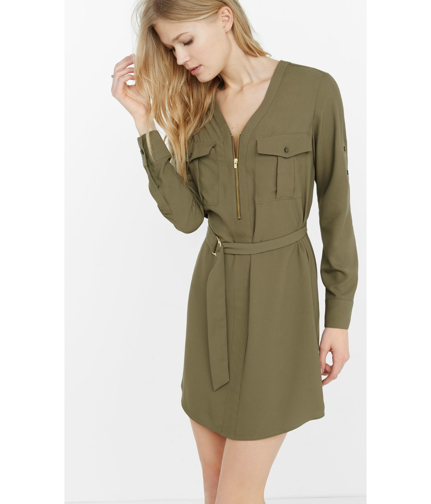 Olive Green Shirt Dress T Shirt Design Database