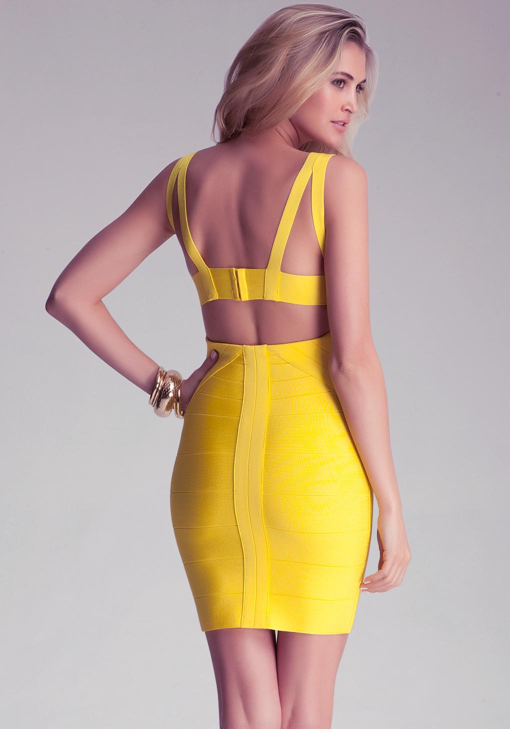Lyst Bebe Strap Bandage Dress In Yellow