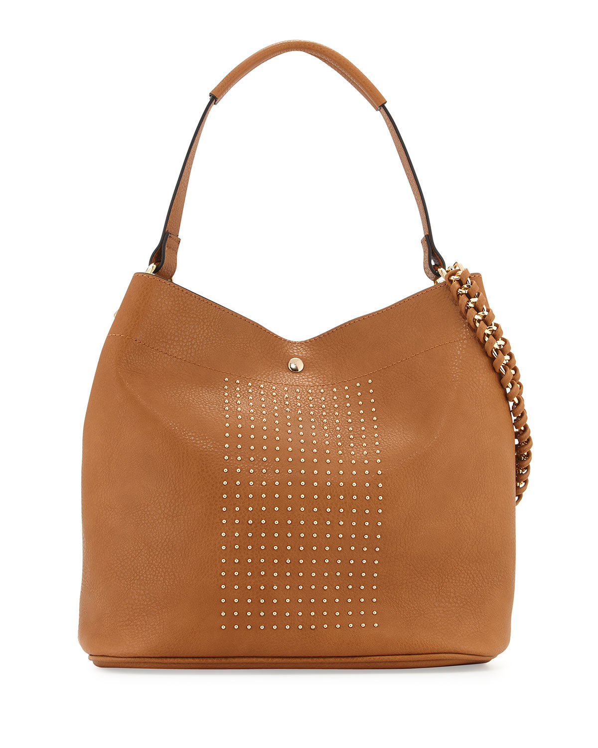 Neiman marcus Sophia Studded Faux-leather Hobo Bag in Brown | Lyst