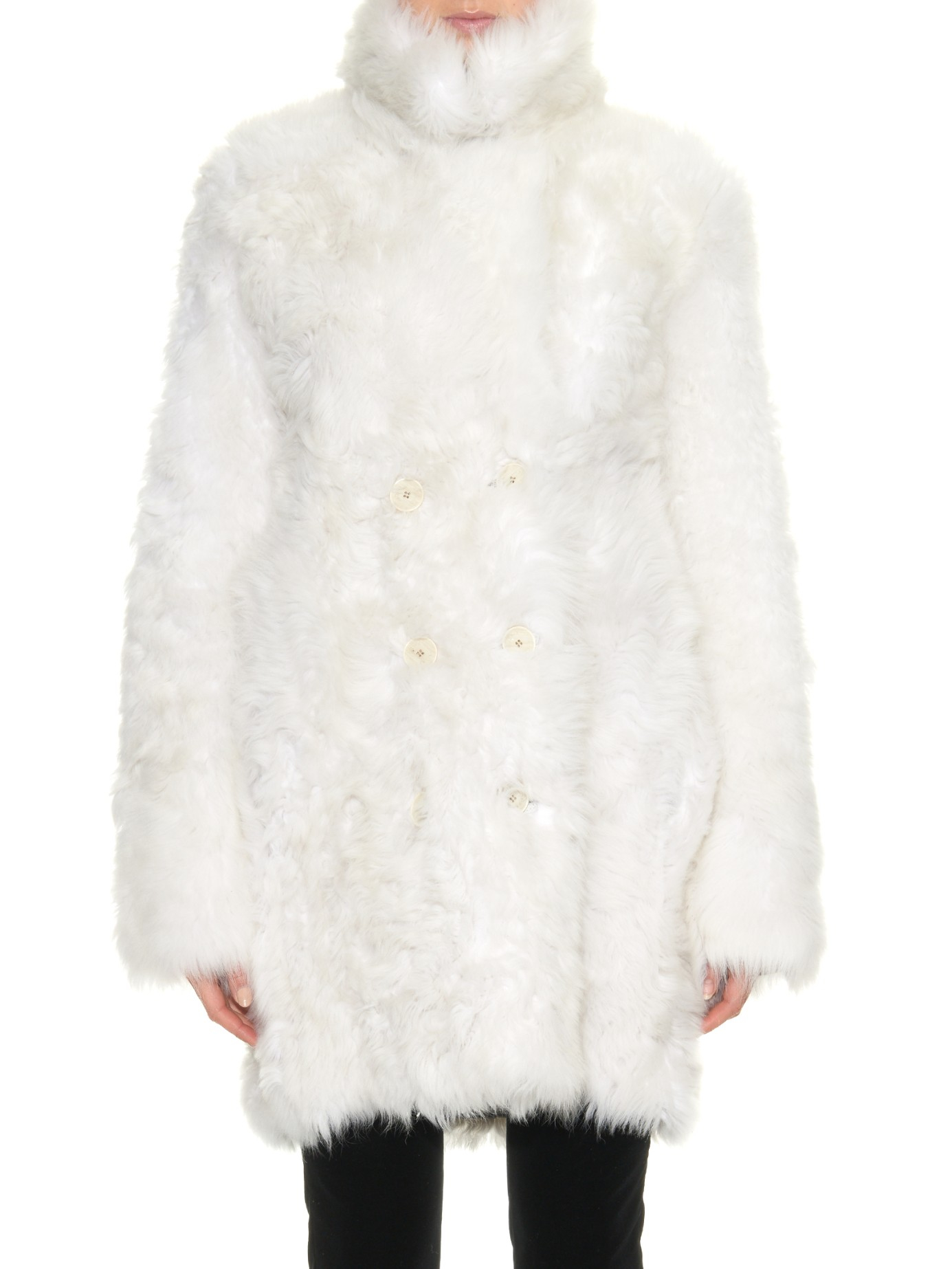 Sonia rykiel Toscana Shearling Coat in White | Lyst
