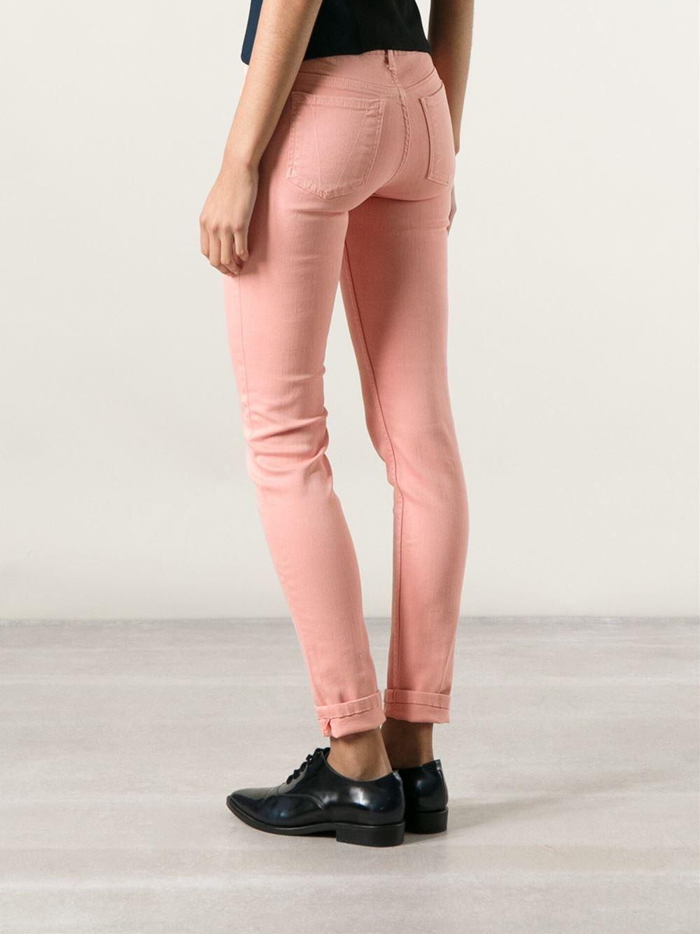 Victoria Beckham Skinny Jeans in Pink & Purple (Pink)