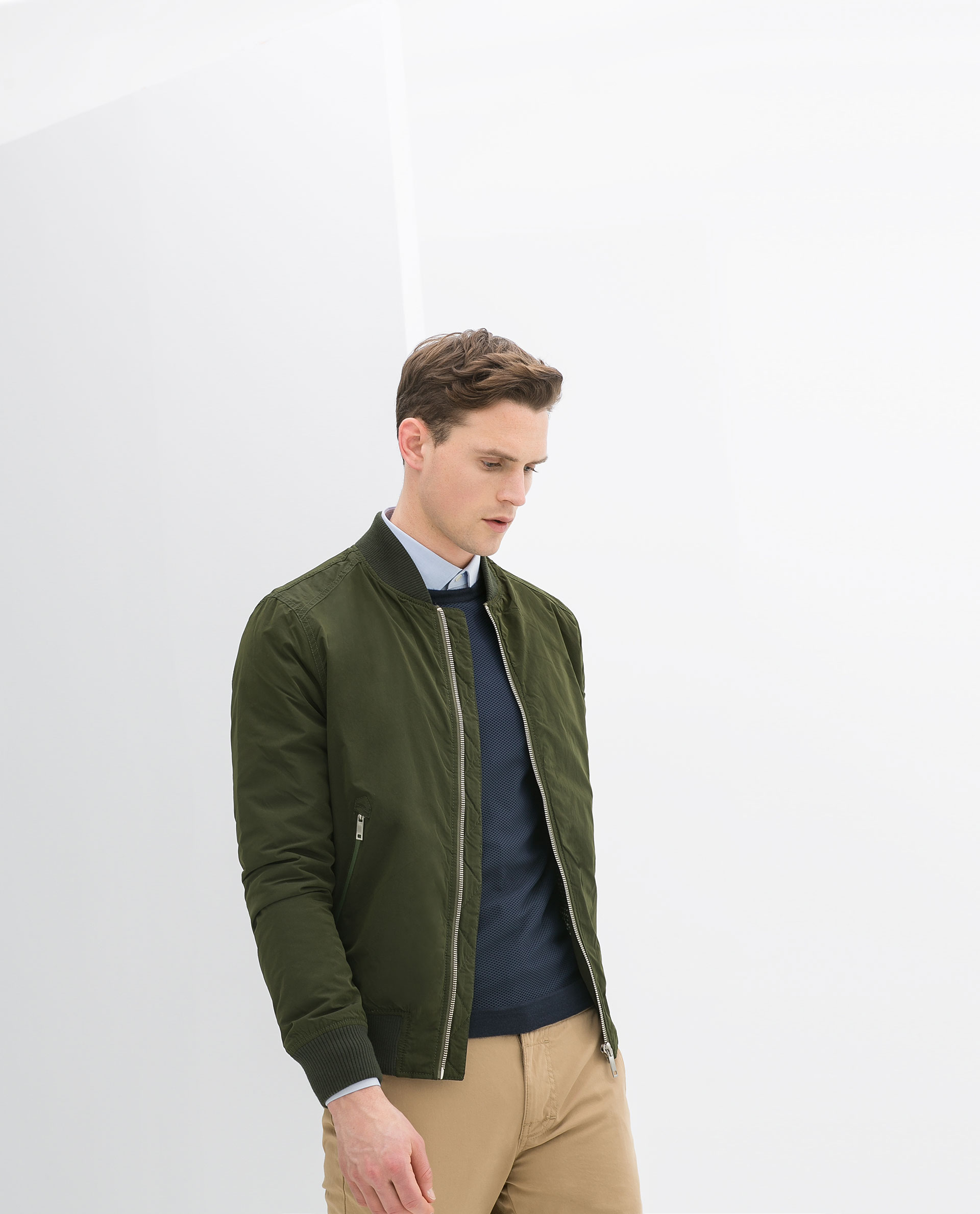 zara contrast bomber jacket in green for men lyst. Black Bedroom Furniture Sets. Home Design Ideas