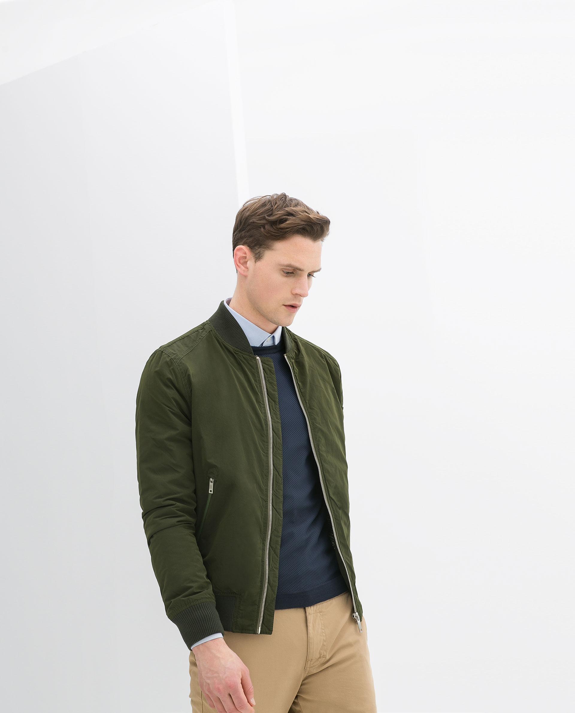 Zara Contrast Bomber Jacket In Green For Men | Lyst